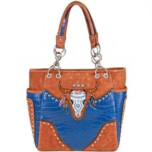 Blue Western Longhorn Embroidered Purse